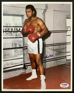 Muhammad Ali Signed Photo 8x10 Boxing GOAT Posed Ring Auto Gym Greatest PSA/DNA