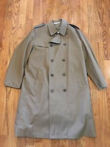 MISTY HARBOR Men's Double Breasted TRENCH/Rain Coat Wool Lined Removable sz 42 L