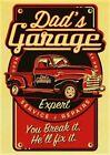 Dad's garage Retro Red Car Vintage Gift Wall Decor Art Print Poster, no frame