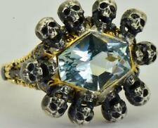 UNIQUE  Victorian Memento Mori 10 Skulls ornate 18k Gold&2.5ct Aquamarine ring