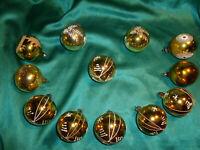 ~ 12 antike Christbaumkugeln Glas gold weiß Sterne Zweige Weihnachtskugeln ~