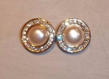 FABULOUS Authentic vintage SWAROVSKI S.A.L crystal & pearl CLIP ON earrings RARE
