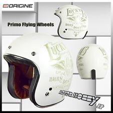 Casco origine Vintage Custom Flying Wheel Bianco Visiera a Bolla Tg M