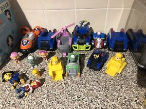 Large Bundle Of Paw Patrol Toys Vehicles with Figures Cars Chase Skye Rocky