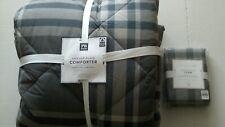 Pottery Barn Teen Xander Plaid Twin Comforter & Std Sham Charcoal NWT minor flaw
