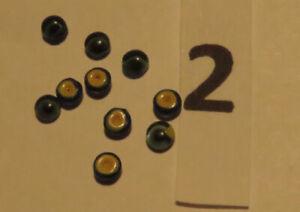 Puppenaugen Linsen 2mm blau, gelb hintermalt 5 Paar