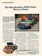 1977 Mercedes Benz 280SE S-Class Original Advertisement Print Art Car Ad J828