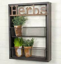 Country new tin HERBS wall rack with storage baskets / nice