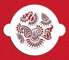Paisley Henna Mehndi Patterns Cake Top Stencil Flexible Cookie Stencil (5 inch)