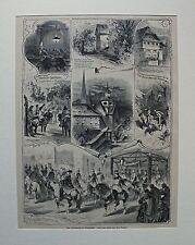 Schweiz, Luzern - Auffahrtsfest in Beromünster - 7 Ansichten - Stich von 1880