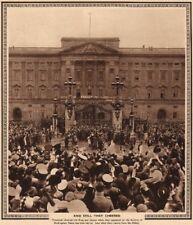CORONATION 1937. Crowd cheering King George 6 balcony Buckingham Palace 1937