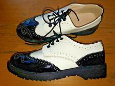 Negro Blanco Cuero Calado 5 38 nuevos cómodos con Cordones suelas de goma Goth Damas Zapatos Planos