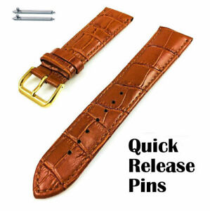 Light Brown Croco Leather Watch Band Strap Belt Gold Steel Buckle #1084
