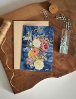 Greeting Card Floral Watercolor Art Blank Inside Indigo Navy Blue Batik Flowers