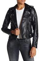 BLANKNYC Faux Leather Moto Jacket Womens Size XS Black Dragonfly Stud NWT