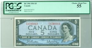 BANK OF CANADA 1954 $5 BC-39b PCGS 55 FREE S/H (1415071)