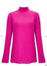 John Lewis Partners Pink High Neck Silk Blouse BNWOT £99