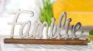 GILDE Schriftzug Familie Aluminium Mango- Holz   H: ca. 17,5 cm - 48513