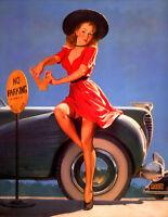 "Retro Pinup Girl CANVAS PRINT Poster Gil Elvgren Parking Ticket Fail - 24x18"" A2"