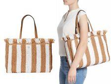 Kate Spade Sam Stripe Straw Large Satchel Tote Shoulder Bag Handbag White Multi