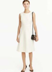 NWT J. Crew Sz 10 Ivory Off White Double Serge Wool A-line Sleeveless Dress