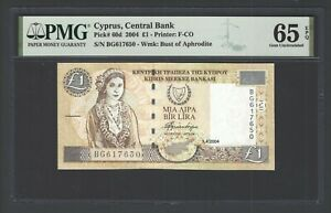 Cyprus One Pound 1-4-2004 P60d Uncirculated Grade 65