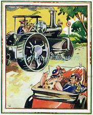 1937 Steam Traction Engine Police Car Comic Postcard C256