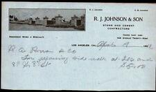 1912 Los Angeles - R J Johnson & Son Co Stone and Cement Contractors Letter Head