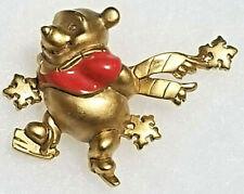 New ListingVintage Disney Pin Winnie the Pooh Ice Skating Winter Snowflake Enamel Goldtone
