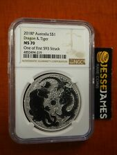 2018 P $1 AUSTRALIA SILVER DRAGON & TIGER NGC MS70 ONE OF FIRST 593 STRUCK LABEL