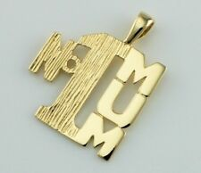 "New 9ct Yellow Gold ""No1 Mum"" Pendant / Charm"