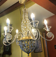 Vintage Wrought Iron 6 Arm Chandelier Crystals Beaded Flowers Ornate Gold Tone