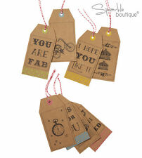 LARGE RETRO-STYLE TAGS - Vintage Style Luggage Gift Tags - Wrapping Decoration