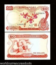 SINGAPORE $10 P3B 1967 LION ORCHID UNC RARE CURRENCY BRUNEI MONEY ASEAN NOTE