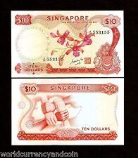 SINGAPORE $10 P3B 1967 LION ORCHID UNC RARE CURRENCY BRUNEI MONEY ASEAN NOTE