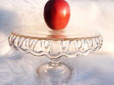 OLD COLONY LACE HOCKING GLASS CAKE STAND SALVER EAPG GLASS VINTAGE WEDDING