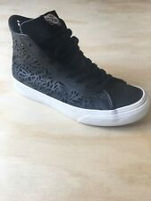 Vans Off the Wall Sk8 Hi Decon Cut Out Leaves Black Leather Shoes Women 5W/3.5M
