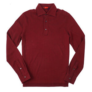 Isaia Long Sleeve Burgundy Red Pique Knit Extrafine Cotton Polo Shirt Slim XL