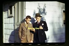 Young Man with Father in the early 1940's, Kodachrome Slide aa 9-1b