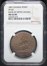 1857 Bank of Upper Canada One Penny Coin Token PC-6D - NGC MS 62 BN - KM# Tn3