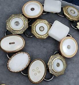 ART Deco Cufflink Bracelet : Mother of Pearl in gold tone bezels