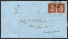 1855 1d Red Pair SG21 Pl 7 NK-NL London District 15 to Penrith Superb Cat.£140++