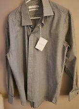 Brooksfield Shirt Sz XL, EU 43 Black White Houndstooth Button, French cuff NWT