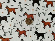 White & brown terrier Dog Kids Print Polycotton fabric/Material - 1 full metre