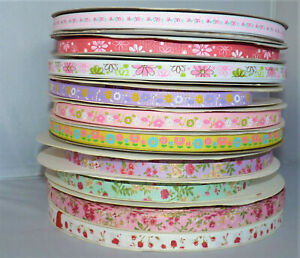 1 OR 10 METRE ASSORTED FLORAL PATTERN GROSGRAIN RIBBON - 10MM WIDE#CRAFT