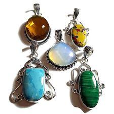 OFFER SALE 5 PCs. MALACHITE & LARIMAR 925 Sterling Silver Plated Pendant Jewelry