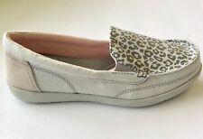 ae18c70e37 Women's 7 M CROCS Walu ll Grey Leopard Canvas Boat Shoe Slip On Loafers