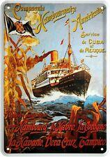 Hamburg Amerika Line Schiff Blechschild Postkarte Reklame Blechkarte PKM 02