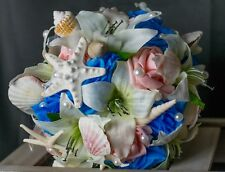 Turquoise Blue, Coral, and Ivory Seashell Starfish Beach Wedding Bouquet 2pc