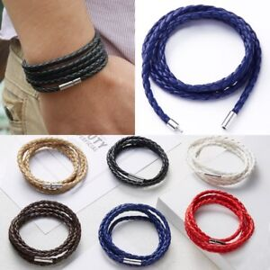 Fashion Handmade Wristband Wrap Cuff Unisex Women Men Braided Leather Bracelet